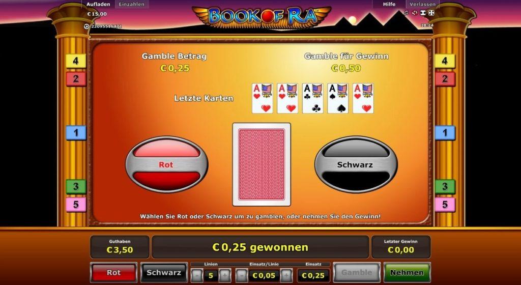 Gamble Modus bei Book of Ra