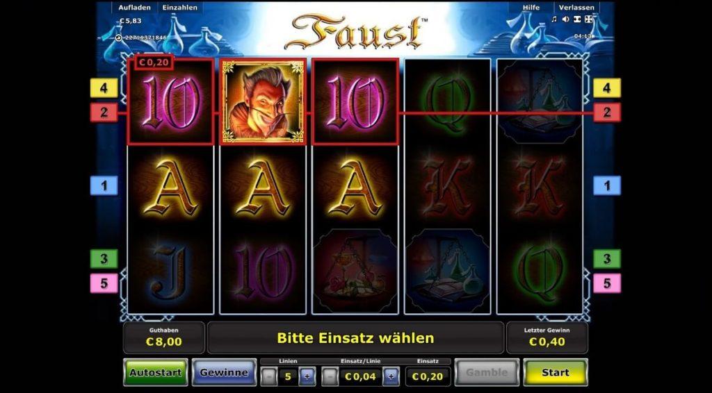 Gewinn im Faust Slot