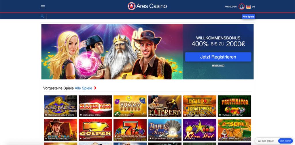 Hauptseite des Ares Casinos