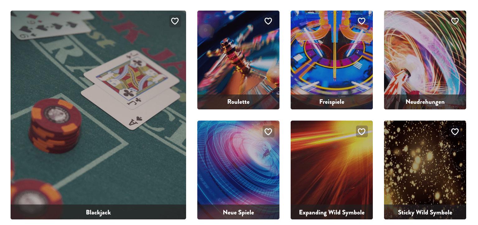 Auswahl der Spiele im Dunder Casino