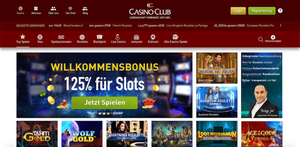 Startseite des Casino-Clubs