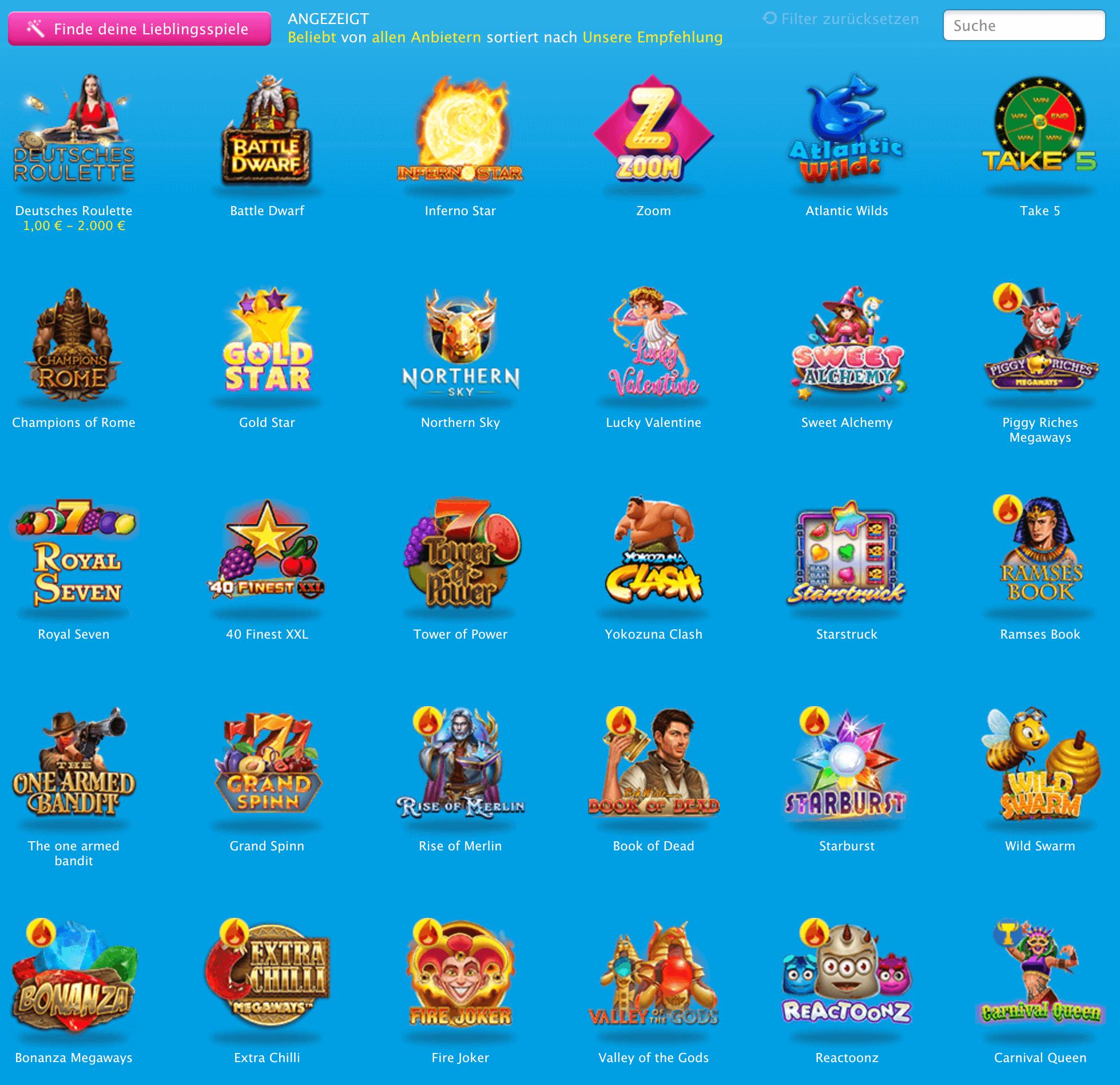 Spiele im Verajohn Casino