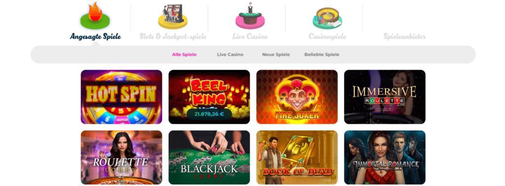 Spielübersicht bei Casino Joy