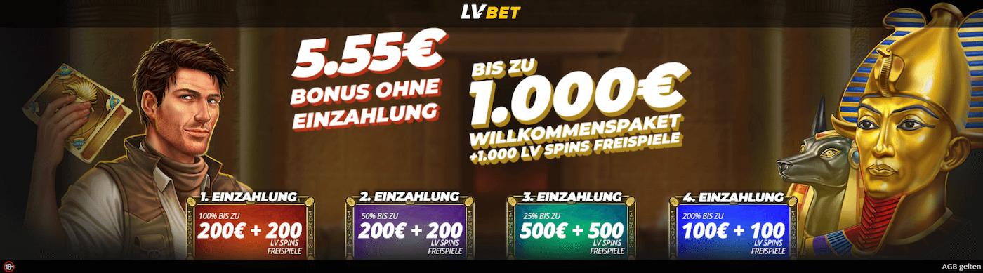 5,55€ Casino Bonus ohne Einzahlung bei LVBET