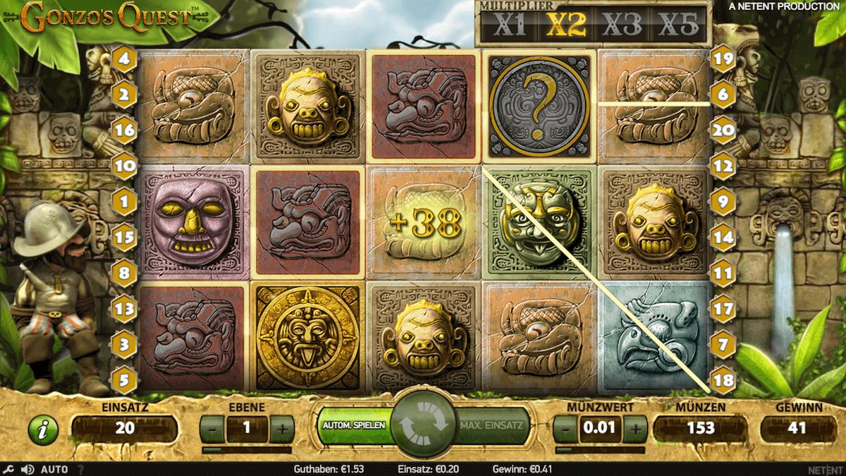 Slot Gonzo´s Quest Gewinnlinie