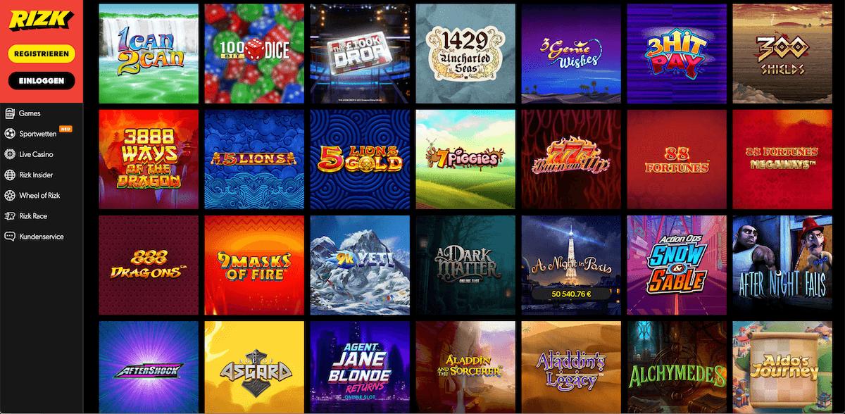 Auswahl an Spielautomaten beim Rizk Casino