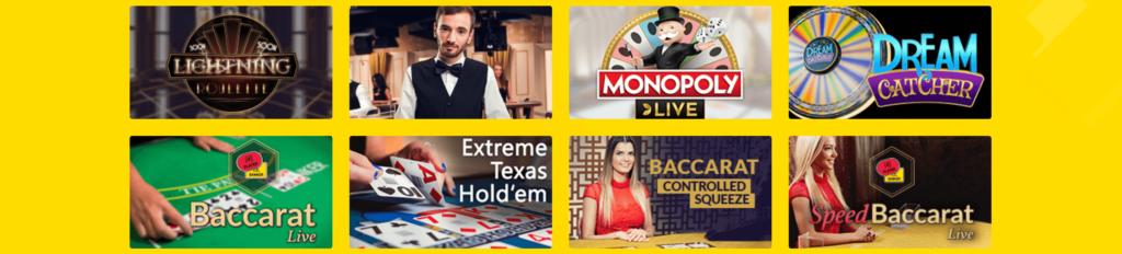 Livedealer Spiele im Hyperino Casino