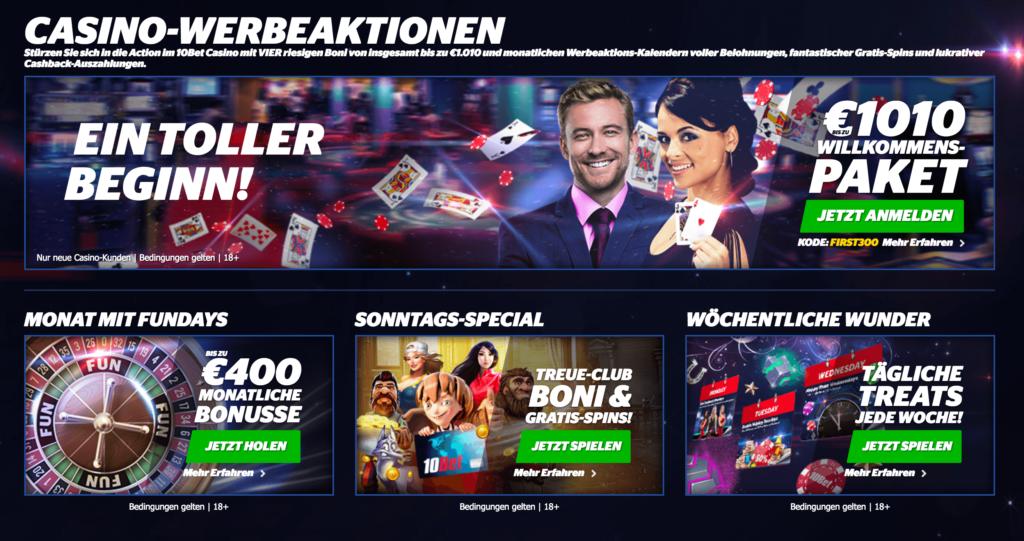 Aktionen im 10Bet Casinos