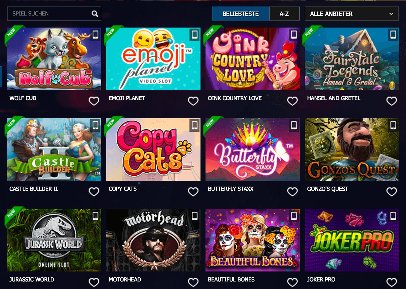Spielautomaten im 10Bet Casino