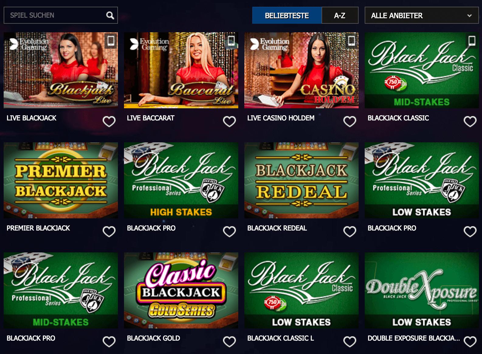 Casino Spiele bei 10Bet