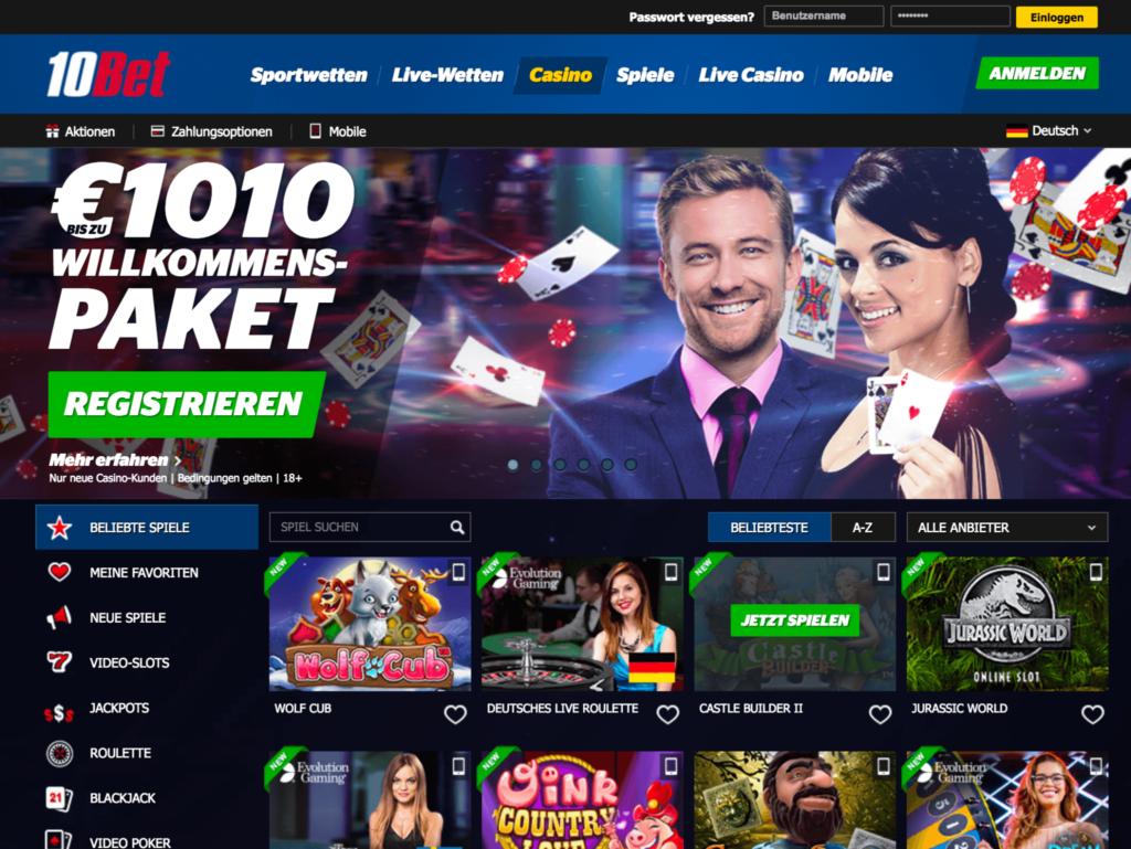 Startseite des 10Bet Casinos