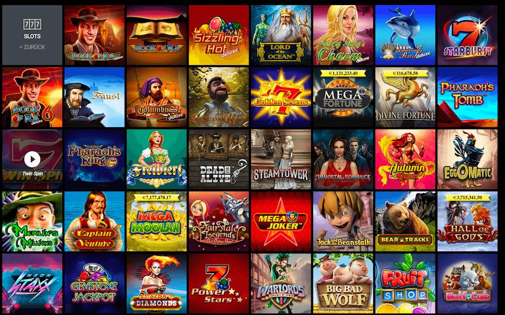 Spielautomaten Auswahl im Viks Casino