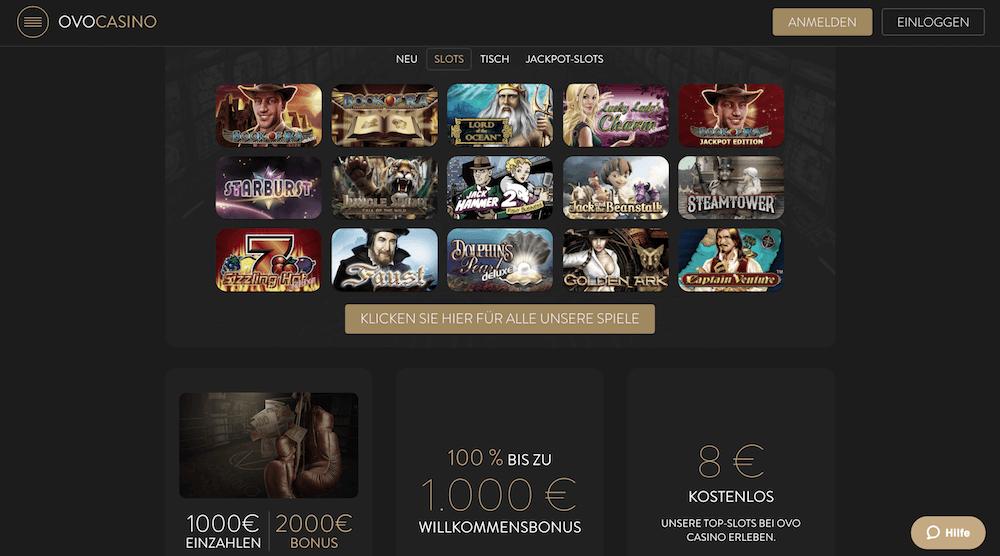 Startseite des OVO Casinos