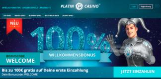 Startseite des Platincasinos