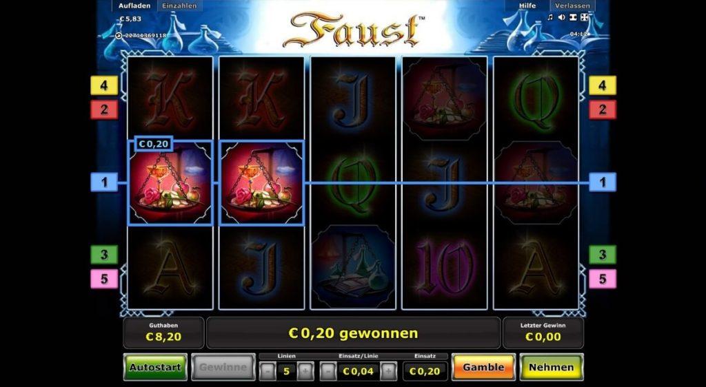 Gewinn im Faust Spielautomaten