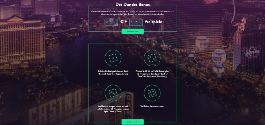 Startseite des Online Casinos Dunder mit Bonus
