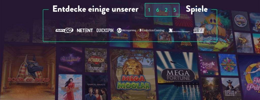 Ansicht einer Auswahl an Spielautomaten im Dunder Casino