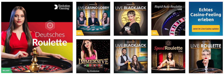 Live Casinos bei DrückGlück