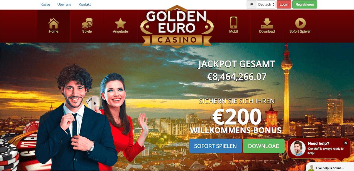 Golden Euro Casino Startseite des Casinos