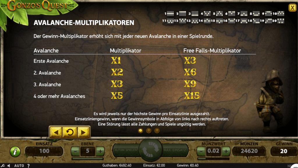 Multiplikationen im Gonzos Quest Slot