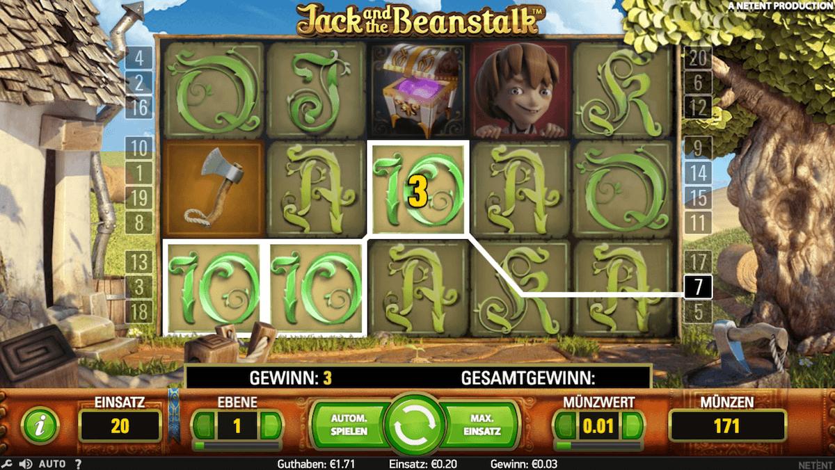 Gewinnlinie bei Jack and the beanstalk