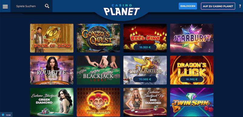 Spieleauswahl im Casino Planet
