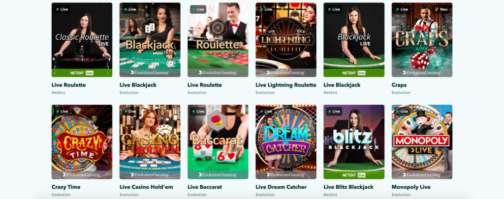 Live Casino bei Luckydays