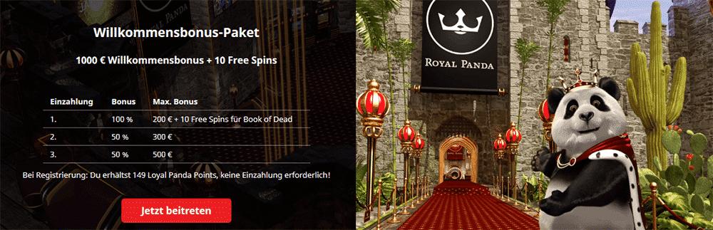 Willkommensbonus im Royal Panda Casino
