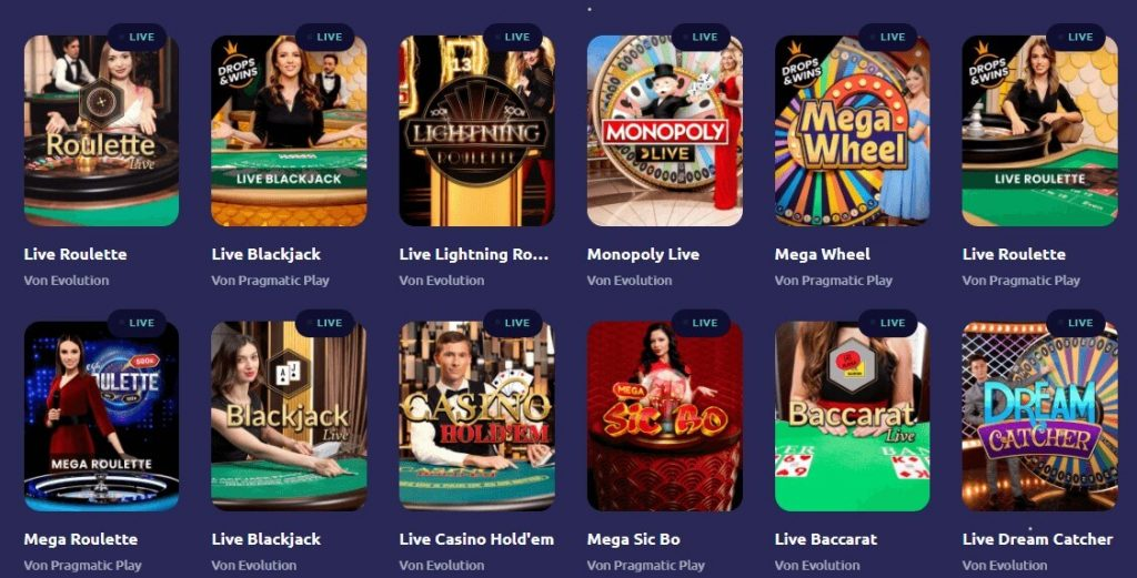 Live Casinos bei Spinaway