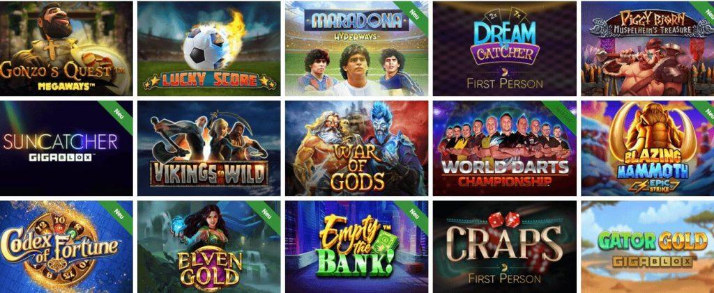 Vegaz Casino Spielübersicht
